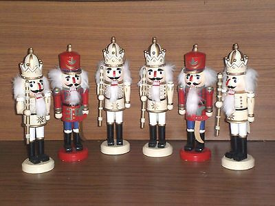 Set of Six Traditional Wooden Nutcracker Soldiers