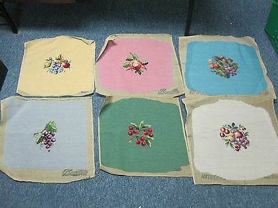 6 VTG HAND STITCHED COMPLETED BUCILLA NEEDLEPOINT MULTICOLOR SEAT COVERS w FRUIT