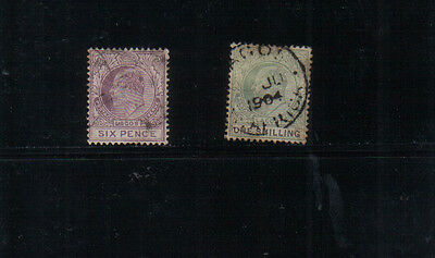 Lagos Edward VII (wmk Crown CA) 6d and 1/- used