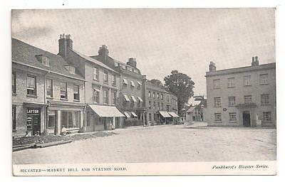 Oxon Bicester Market Hill Layton Shop Kings Arms Water Pipe Laying 1906 Postcard