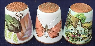 Group of 3 Enamelled Copper Thimbles Cottage  Leaves & Butterfly
