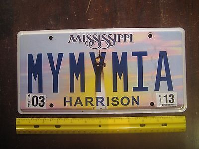License Plate, Mississippi, Lighthouse, Play on Words: MY MY MIA, Mama Mia
