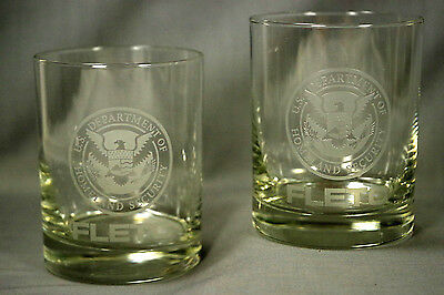 TWO (2) DHS Dept of Homeland Security FLETC Etched On-The Rocks Glasses, EXC