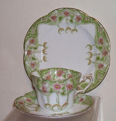 SUPERB ART NOUVEAU CHINA SCALLOPED TRIO c.1903 - WILEMAN, PARAGON,AYNSLEY INT-n2