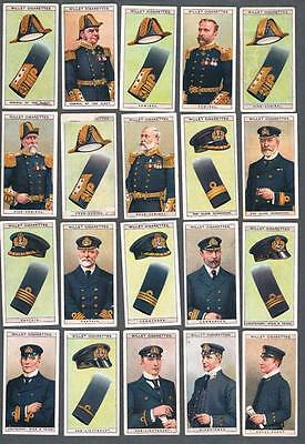 1909 Wills's Cigarettes Naval Dress & Badges Tobacco Cards Complete Set of 50