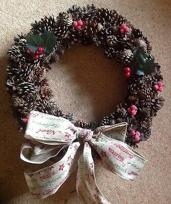 Lovely Christmas Pine Cone Door Wreath
