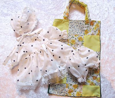Dolls Clothes. Pretty Dolls Dress, Hat and Knickers in Patchwork Storage Bag