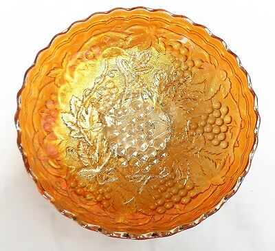 CARNIVAL GLASS MARIGOLD COLOUR BOWL Grape & leaf Pattern no reserve