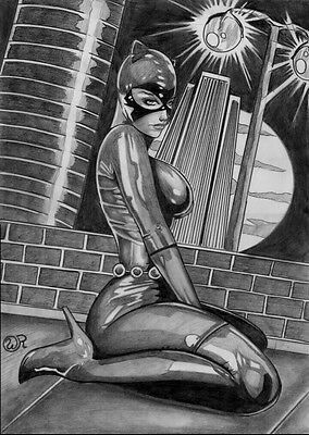 CATWOMAN by artist WELLIGNTON RF-ART PINUP Drawing Original
