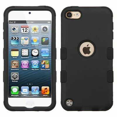 For Apple iPod Touch 5th Gen/6th Gen Black Tuff Hard Silicone Hybrid Rubber Case