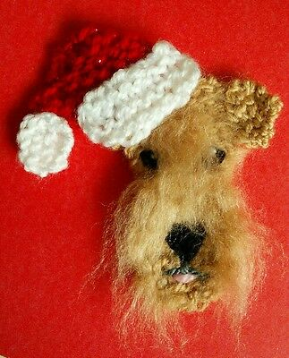 knitted Christmas wheaten terrier brooch NEW !