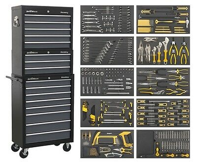 SEALEY TOOL CHEST COMBO 16 DRAWER WITH BALL BEARING RUNNERS & 420pc TOOL KIT