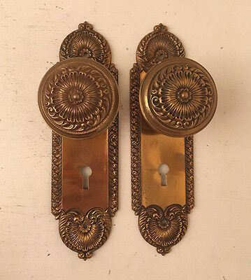 Antique Victorian Eastlake BRONZE DOOR KNOB SET w Backplates -from LA Plantation