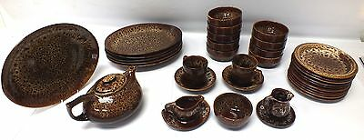 31 Piece FOSTERS CORNWALL Brown Dinner Service - M21