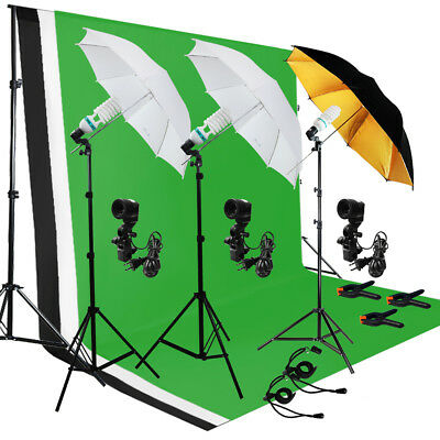 Photo Video Photography Studio Backdrop Stand Umbrella Continuous Lighting Kit