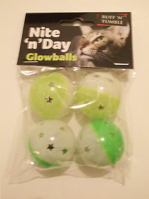 Ruff 'n' Tumble Nite 'n' Day Glowballs Cat Toy With Bells -  ( Pack Of 4 ) - New