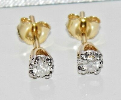 Beautiful 9ct Yellow Gold 0.15ct Diamond Ladies Solitaire Stud Earrings