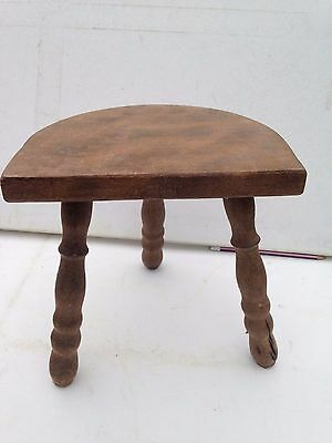 A Antique Vintage French Solid Oak Wooden  Rustic 3 Carved Legged Stool