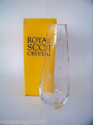 ROYAL SCOT Crystal Vase 8in high star pattern ideal gift New in box