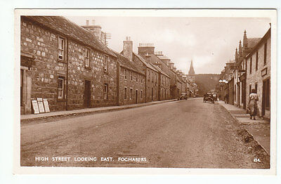 High Street Looking East Fochabers Moray Car At Filling Station c1920 Real Photo