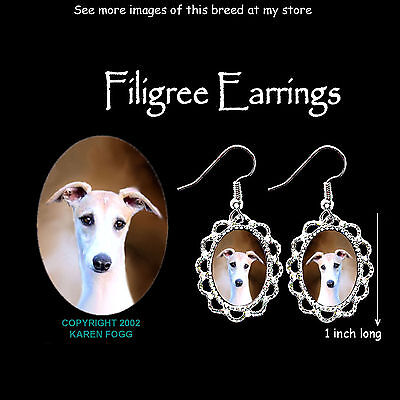 WHIPPET DOG Fawn - SILVER FILIGREE EARRINGS Jewelry