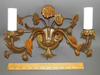 Antique Swedish Bronze Ornate Floral Wall Sconce Light Marked