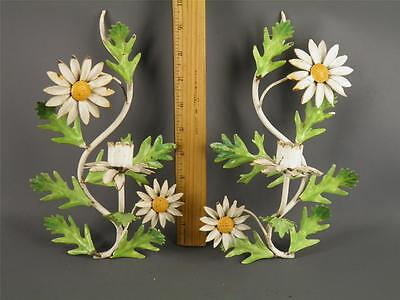 Pair Italian Tole Painted Metal Flowers Daisies Candle Wall Sconces Shabby Chic