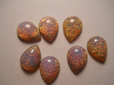 Fire opal-harlequin  18x13mm cabochon pear  glass stones (18)