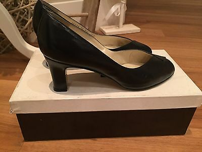 'roland Cartier' Black Leather, High Heeled, Peep Toe Shoes /  Sandals - Uk 4