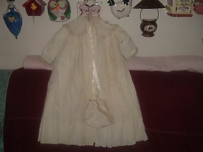 Yolande, 3 piece long Christening Outfit, lined coat, dress, bonnet, embroidery