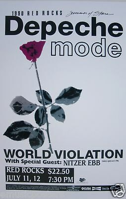 "Depeche Mode - Nitzer Ebb ""world Violation 1990 Tour"" Denver Concert  Poster"