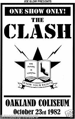 "The Clash ""oakland 1982 - Know Your Rights"" U.k. Commercial Poster"