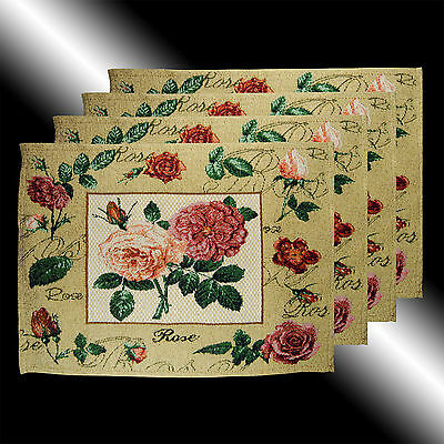 Set Of 4 Vintage French Country Roses Floral Tapestry Deco Table Linen Placemats