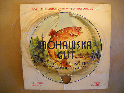 MOHAWSKA GUT FISHING LINE vintage DISPLAY label DIE-CUT CHROMO fish WITH LINE