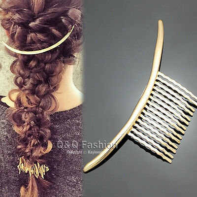Blogger Fav Gold Curved Bar French Updo Hair Pin Clip Dress Snap Barrette Comb