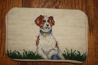 Needlepointed Jack Russell Cosmetic Zippered Case