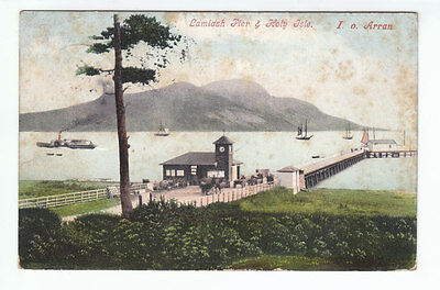 Lamlash Pier & Holy Isle Arran 27 Feb 1905 Kerr Alexander Street Partick Old PC