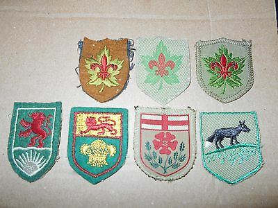 (Oa1-R)  Seven Very Early Canadian Provincial Scout Badges  Unused   Canada Sco