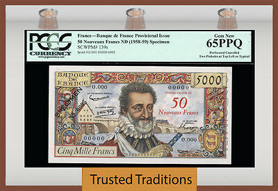 TT PK 139s 1958-59 FRANCE 50 FRANCS SPECIMEN KING HENRY IV PCGS 65 PPQ ONLY GEM!