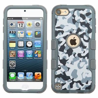 For Apple iPod Touch 5th Gen/6th Gen Gray Camouflage Tuff Hard Hybrid Case Cover