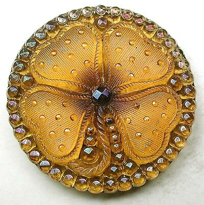 Antique Lacy Glass Button Honey Four leaf Clover w/ Iridescent Luster 1 & 3/16""