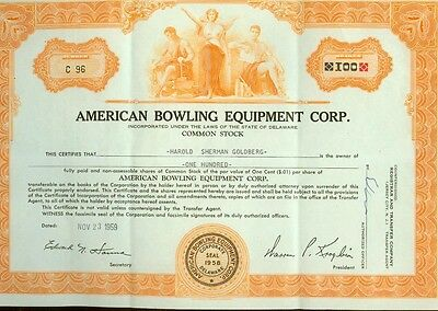 American Bowling Equipment Corporation Stock Certificate 1959