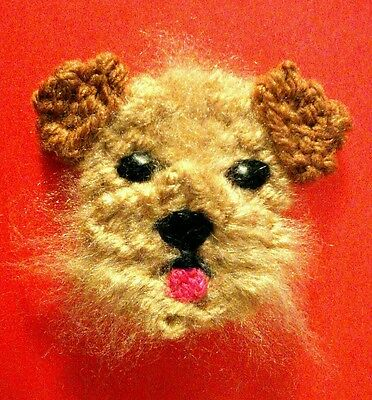 knitted Christmas Norfolk terrier brooch NEW !