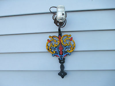 Vintage Painted Cast Iron Trivet Wall Sconce Lamp
