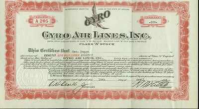Gyro Airlines Stock Certificate 1934