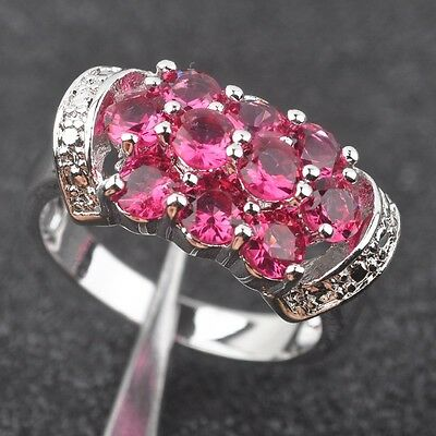 Shining Red Ruby  Gemstone For Women Silver Jewelry Ring Size8 DS010