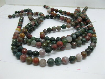 5 Strands Indian Agate Round Gemstone Beads 8mm