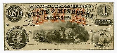 1860's $1 The State of MISSOURI Note