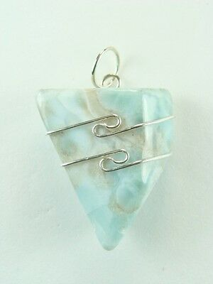 """1.0""""/26mm Larimar (Blue Pectolite) sterling silver wire wrapped Pendant  #1205"""