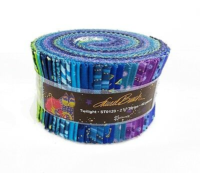 """Laurel Burch Basics  """"Twilight"""" Fabric Jelly Roll Quilt strips 2.5"""" wide Cotton"""